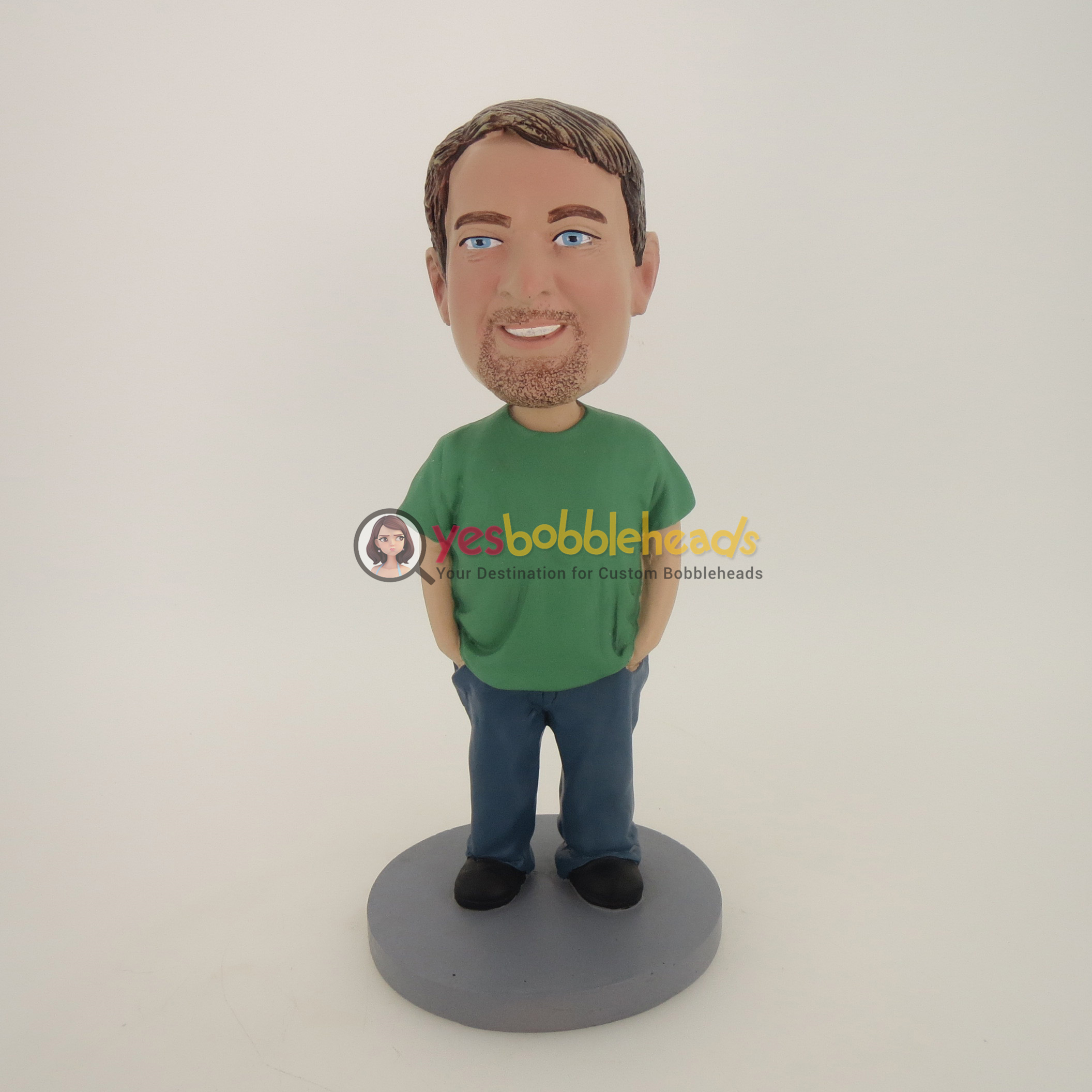 Picture of Custom Bobblehead Doll: Casual Man With Beard Having His Hands In Pocket