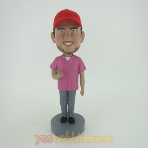 Picture of Custom Bobblehead Doll: Casual Man With Beard In Red Hat