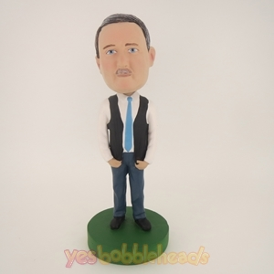 Picture of Custom Bobblehead Doll: Casual Man With Blue Tie