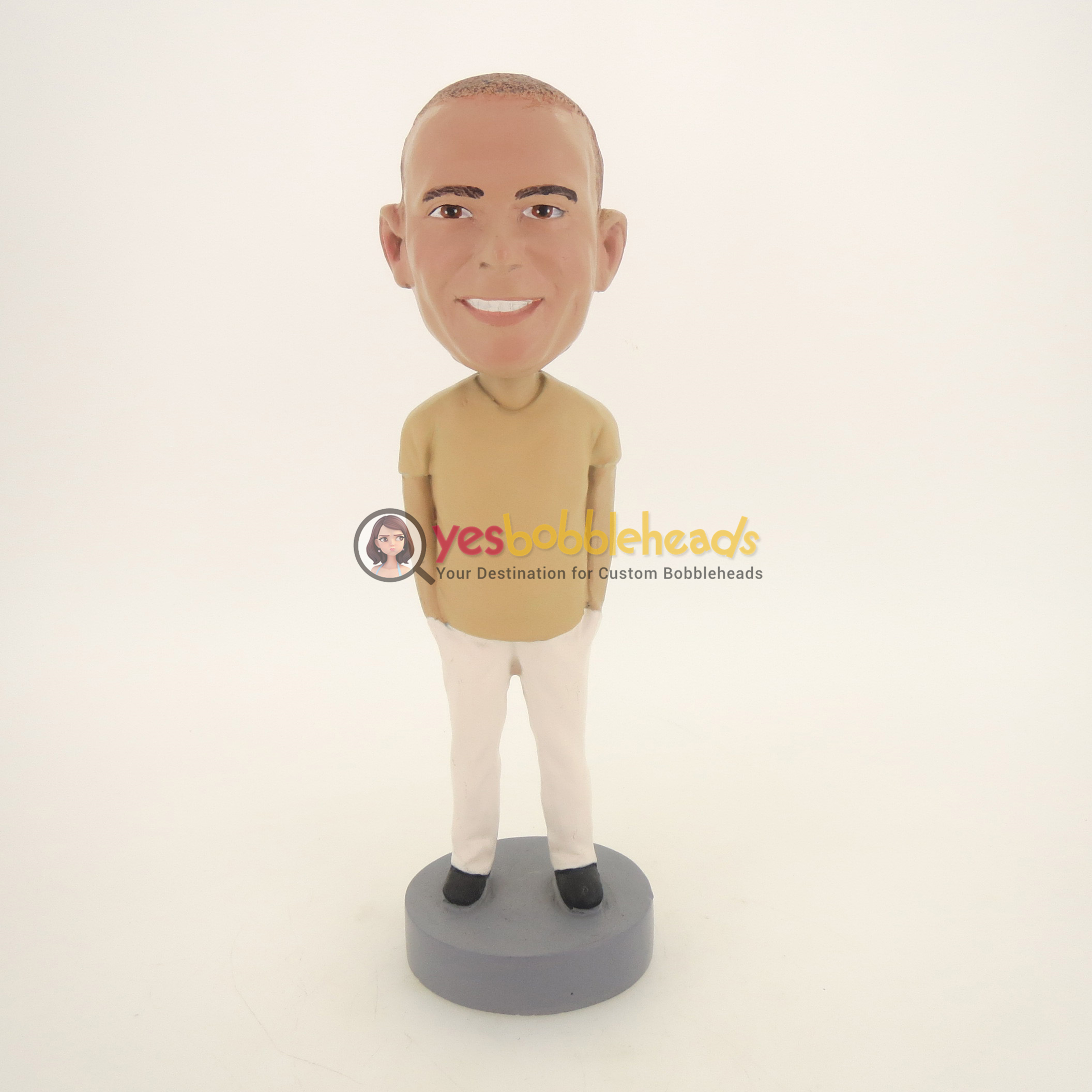 Picture of Custom Bobblehead Doll: Casual Man With Both Hands In Pocket
