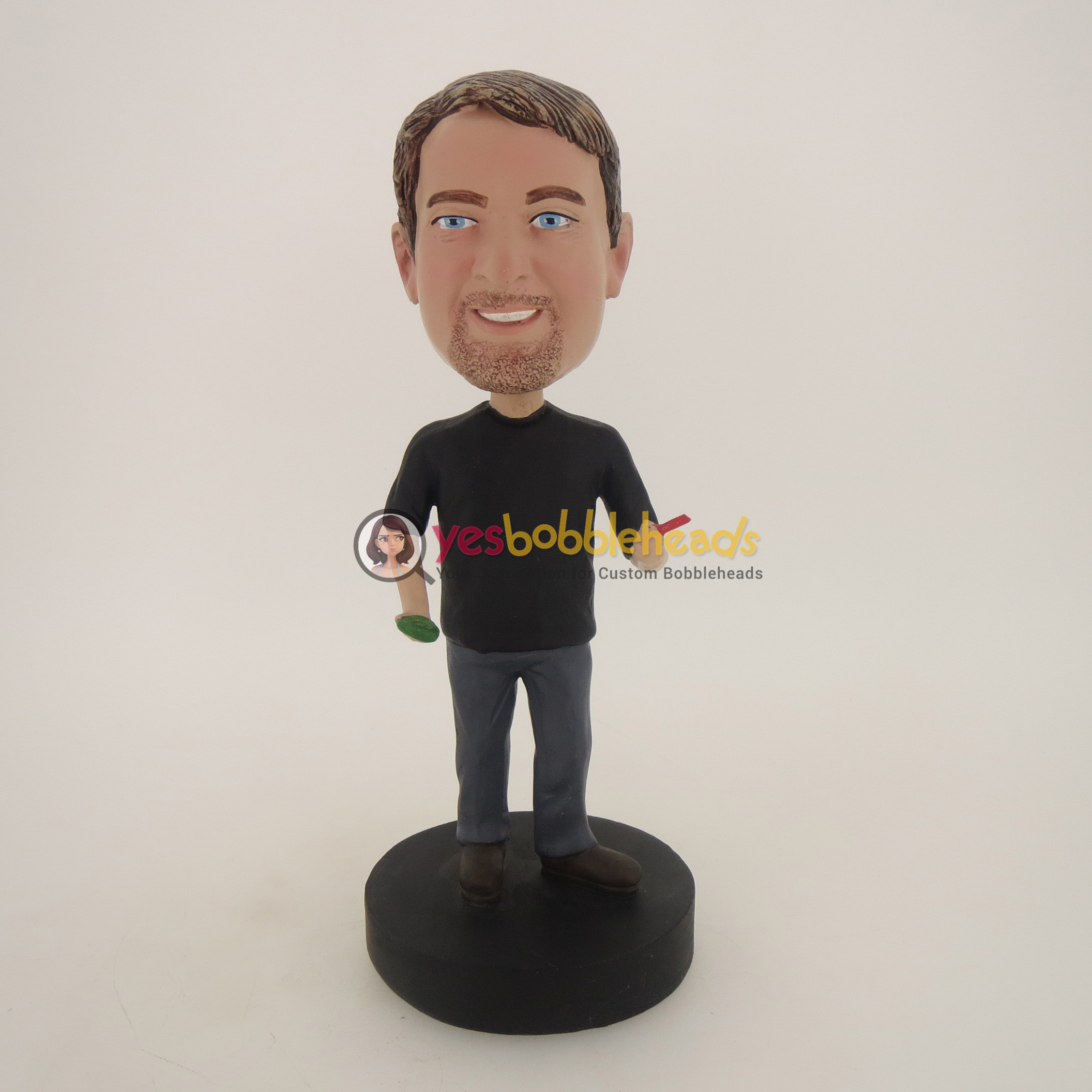 Picture of Custom Bobblehead Doll: Casual Man With Geen And Red In Hands