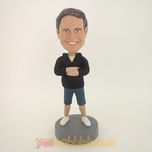 Picture of Custom Bobblehead Doll: Casual Man With Hands On The Chest