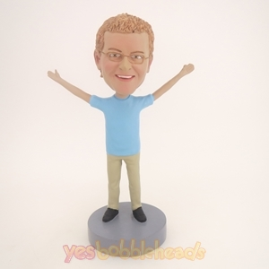 Picture of Custom Bobblehead Doll: Casual Man With Hands Up