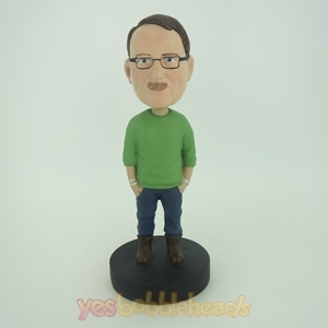 Picture of Custom Bobblehead Doll: Casual Man With His Hands In Pockets