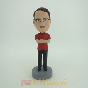 Picture of Custom Bobblehead Doll: Casual Man With Nice Red TShirt