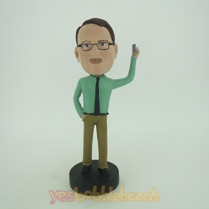 Picture of Custom Bobblehead Doll: Casual Man With Something In Left Hand Up