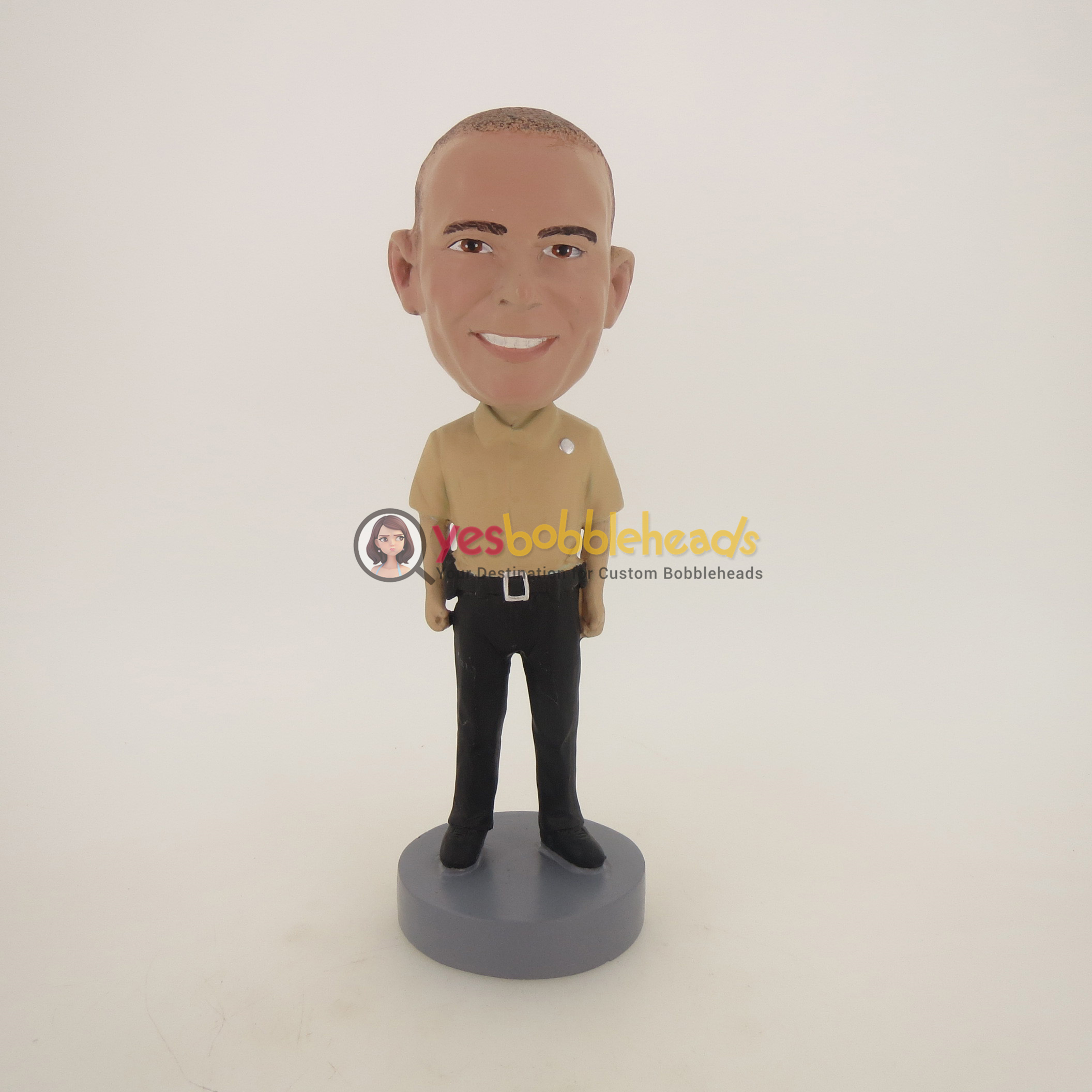 Picture of Custom Bobblehead Doll: Casual Policeman In Brown