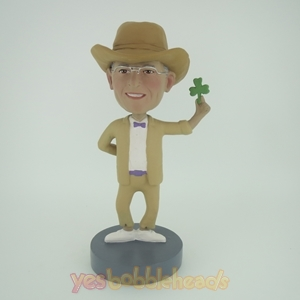 Picture of Custom Bobblehead Doll: Cowboy Holding A Leaf