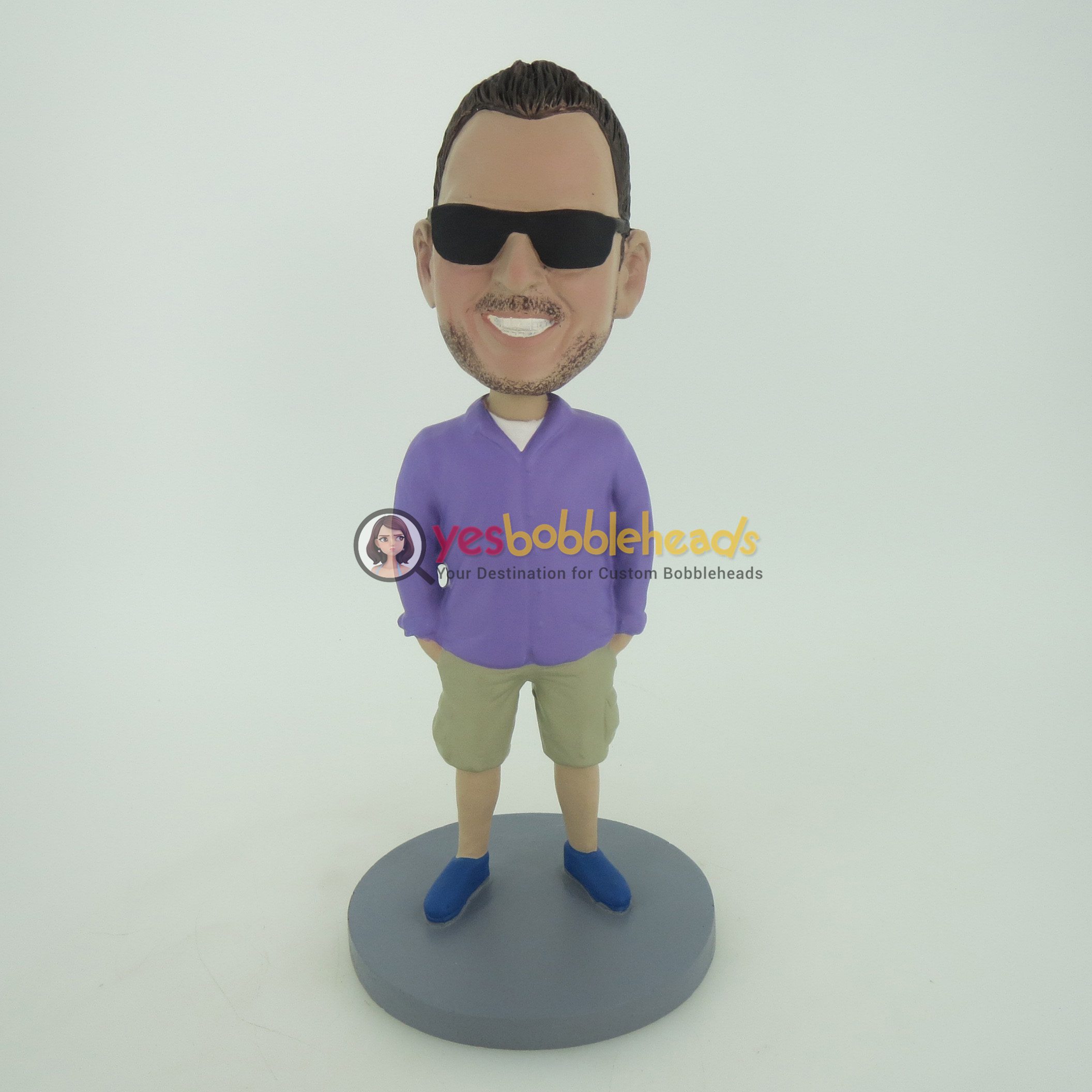 Picture of Custom Bobblehead Doll: Cugar In Purple Shirt And Sunglass