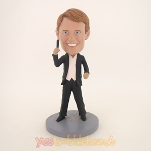 Picture of Custom Bobblehead Doll: Happy Man Holding Up Something Cool