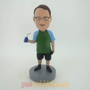 Picture of Custom Bobblehead Doll: Man Enjoying Sports Drink