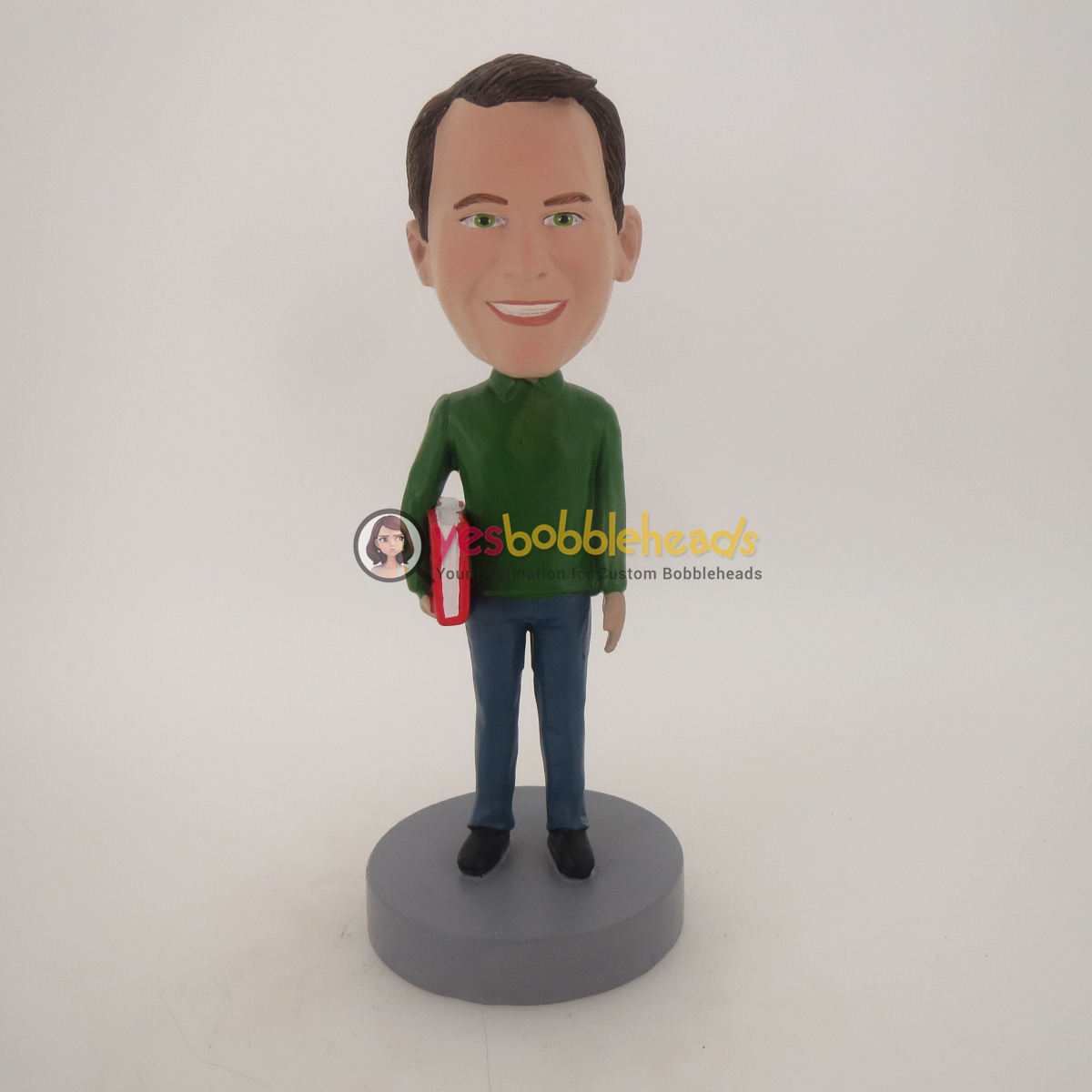 Picture of Custom Bobblehead Doll: Man Holding Big Book