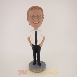 Picture of Custom Bobblehead Doll: Man In Black And White With Tie