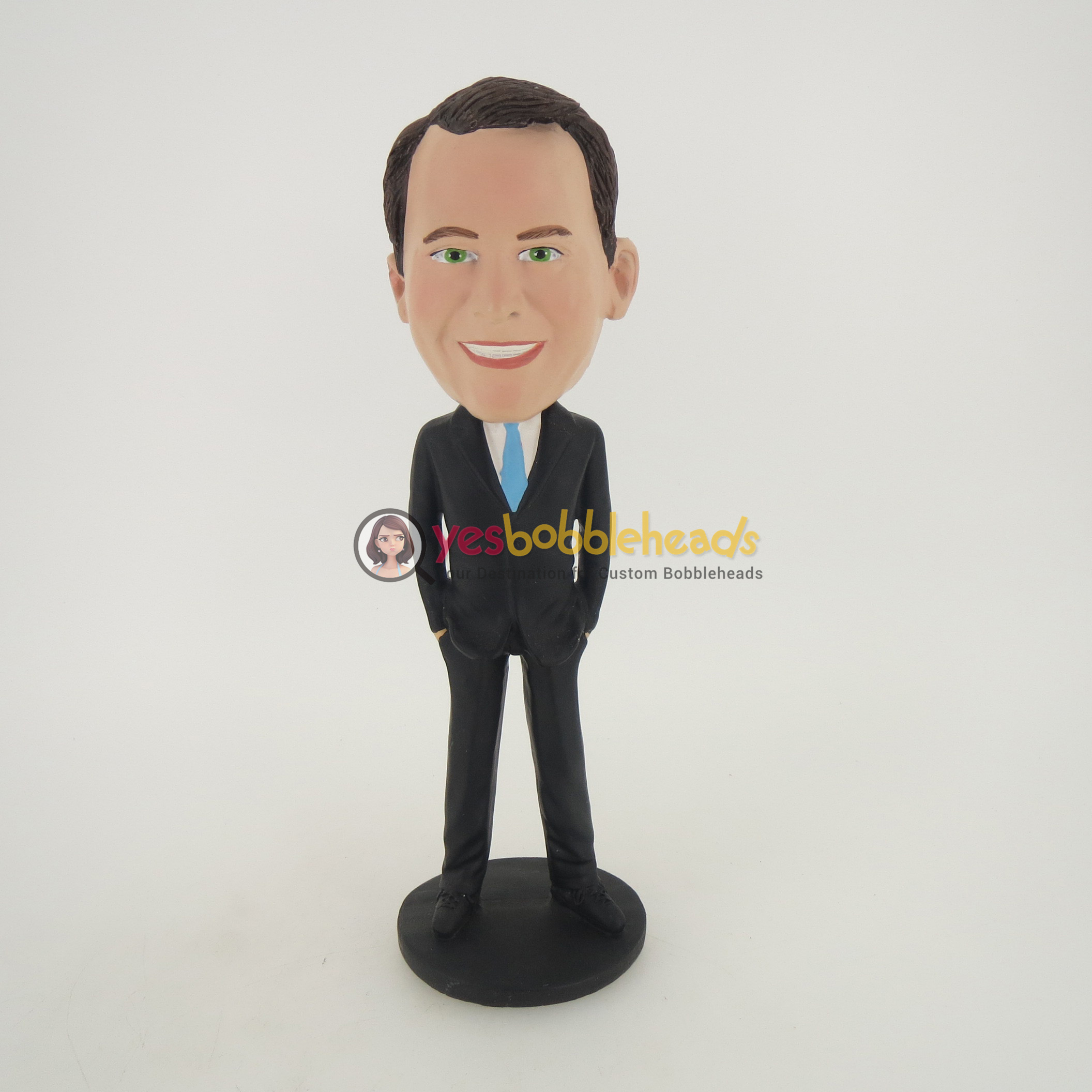 Custom Bobblehead Doll: Man In Black Suit And Blue Tie - Yes ...