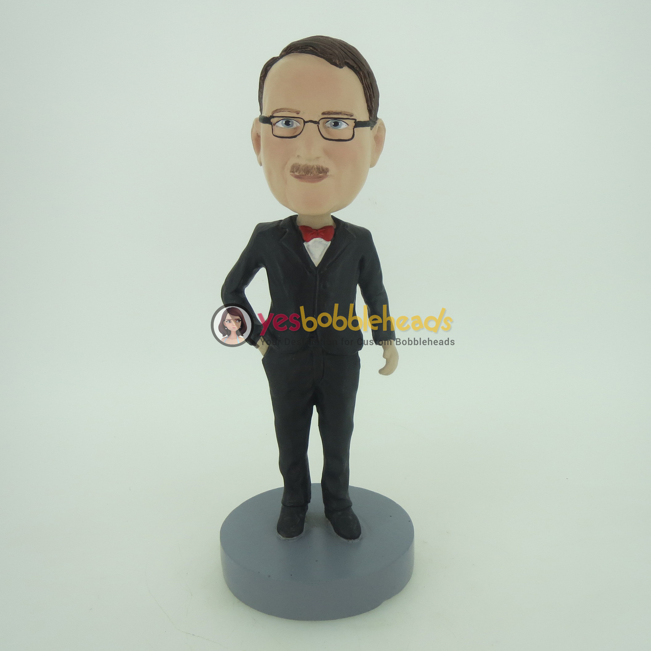 Picture of Custom Bobblehead Doll: Man In Black Suit And Red Bow