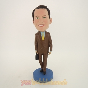 Picture of Custom Bobblehead Doll: Man In Brown Suit With Suitcase