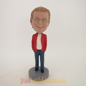 Picture of Custom Bobblehead Doll: Man In Casual Style Red Jacket