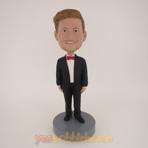 Picture of Custom Bobblehead Doll: Man In Formal Suit With Red Bow