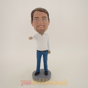 Picture of Custom Bobblehead Doll: Man In Nice Clothing Pointing Out