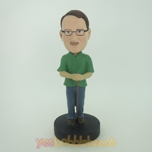 Picture of Custom Bobblehead Doll: Man In Green With A Walking Sticker
