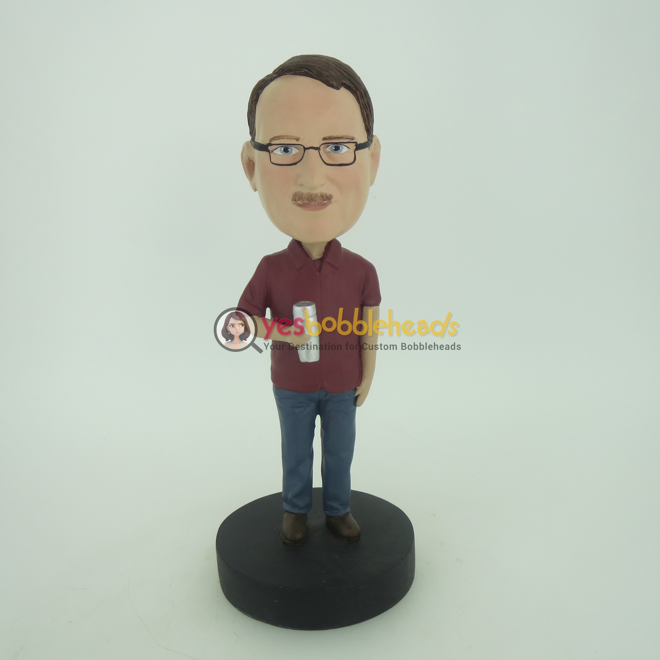 Picture of Custom Bobblehead Doll: Man With A Bottle Of Water