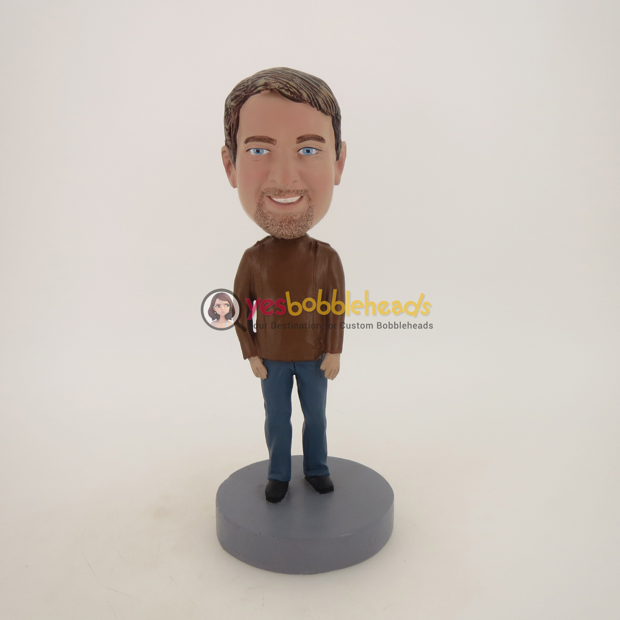 Picture of Custom Bobblehead Doll: Man With Beard In Brown Jacket