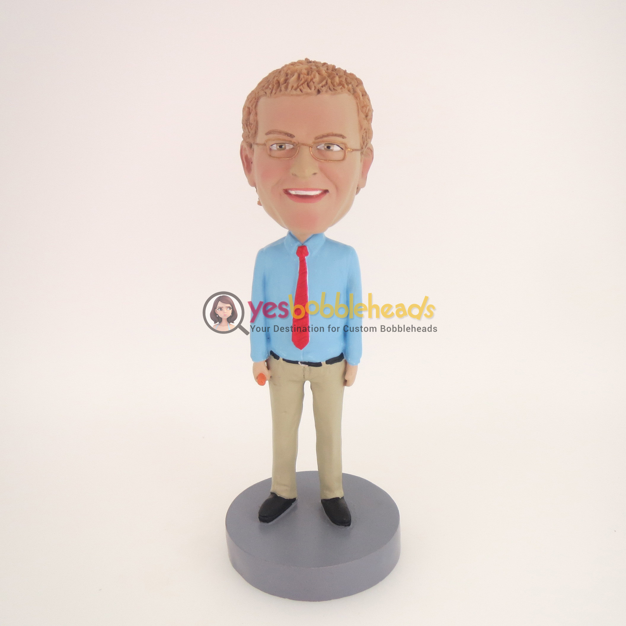 Picture of Custom Bobblehead Doll: Man With Blue Shirt And Red Tie