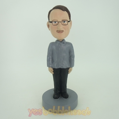 Picture of Custom Bobblehead Doll: Man With Glass Stand Still