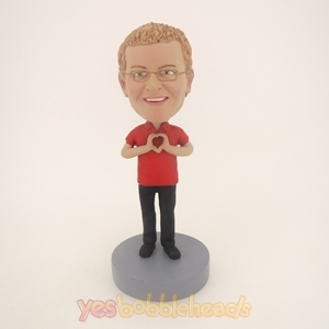 Picture of Custom Bobblehead Doll: Man With Hands In Heart Shape
