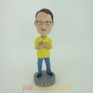 Picture of Custom Bobblehead Doll: Man With Hands On His Chest