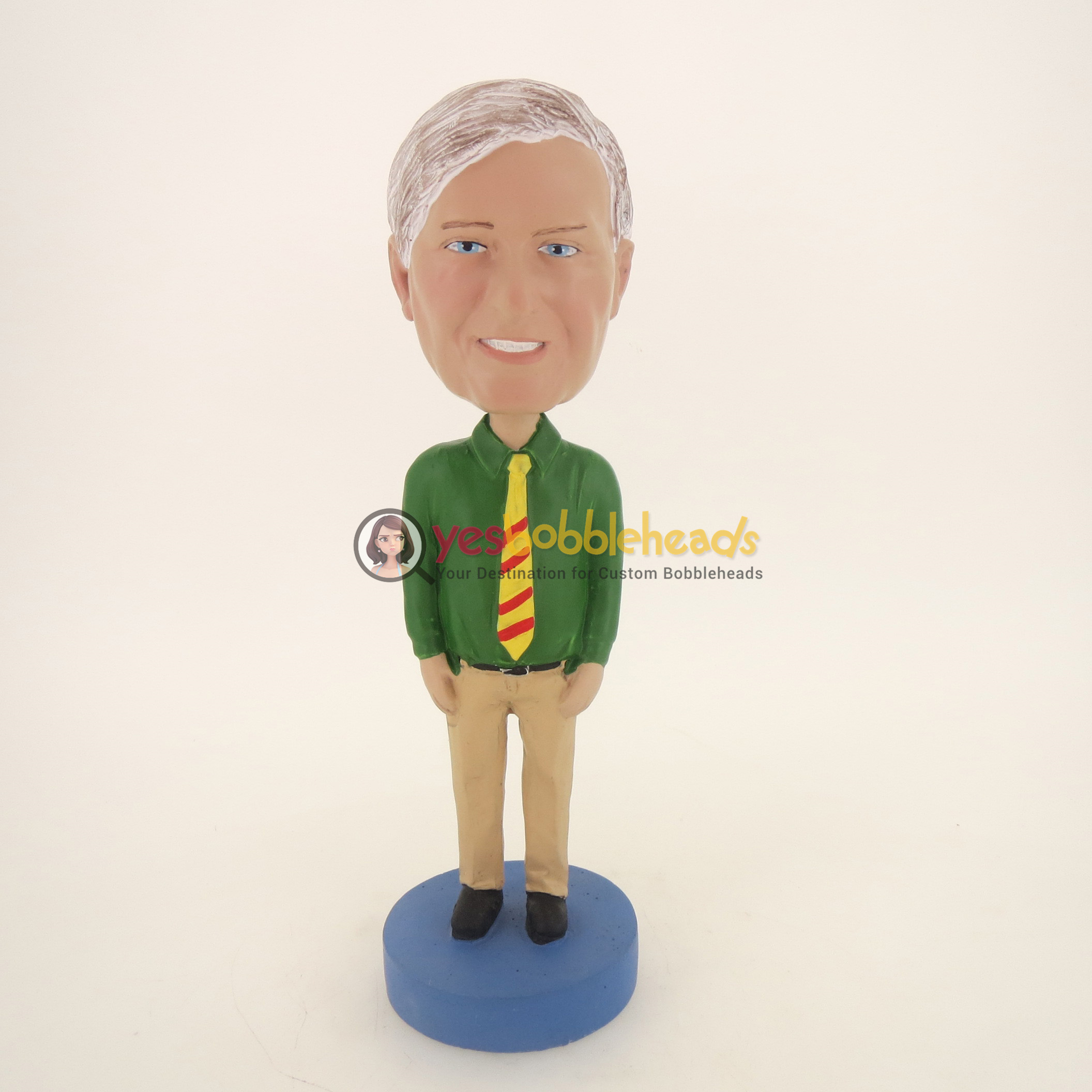 Picture of Custom Bobblehead Doll: Old Casual Man In Green With Tie
