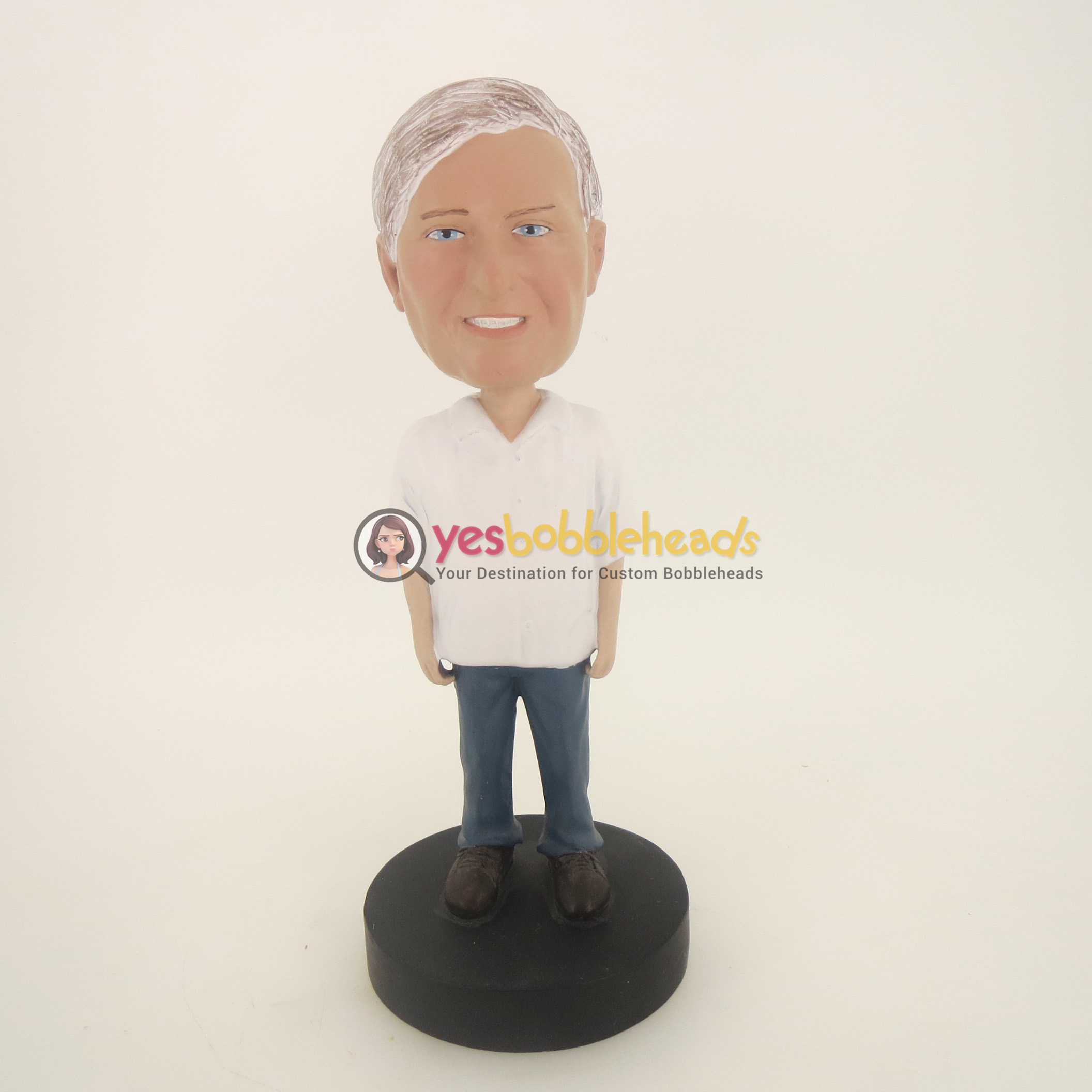 Picture of Custom Bobblehead Doll: Old Man In White TShirt