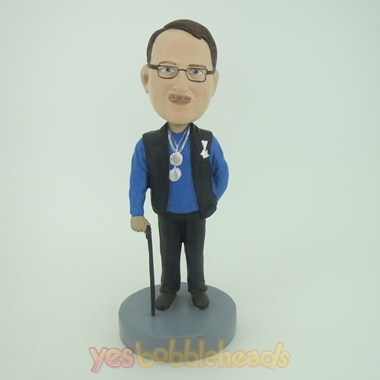 Picture of Custom Bobblehead Doll: Old Man On Walking Stick