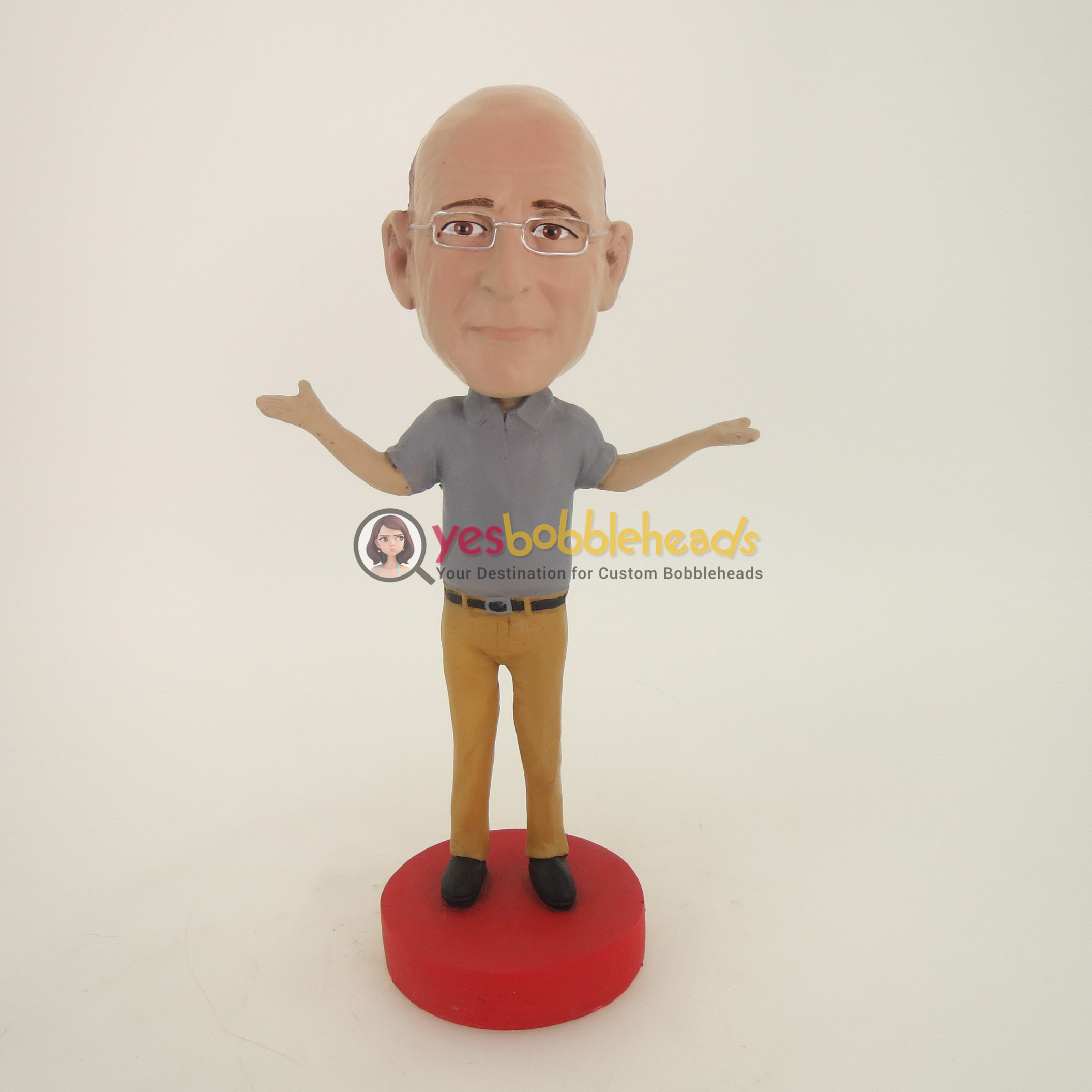 Picture of Custom Bobblehead Doll: Old Man With Hands Up