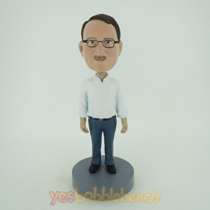 Picture of Custom Bobblehead Doll: Older Man In White And Blue