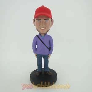 Picture of Custom Bobblehead Doll: Purple Man With Red Hat