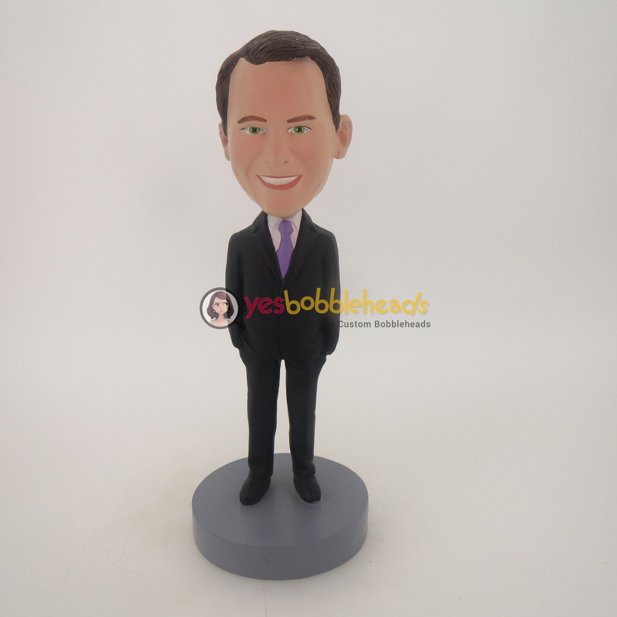 Picture of Custom Bobblehead Doll: Smiling Business Man With Hands In His Pocket