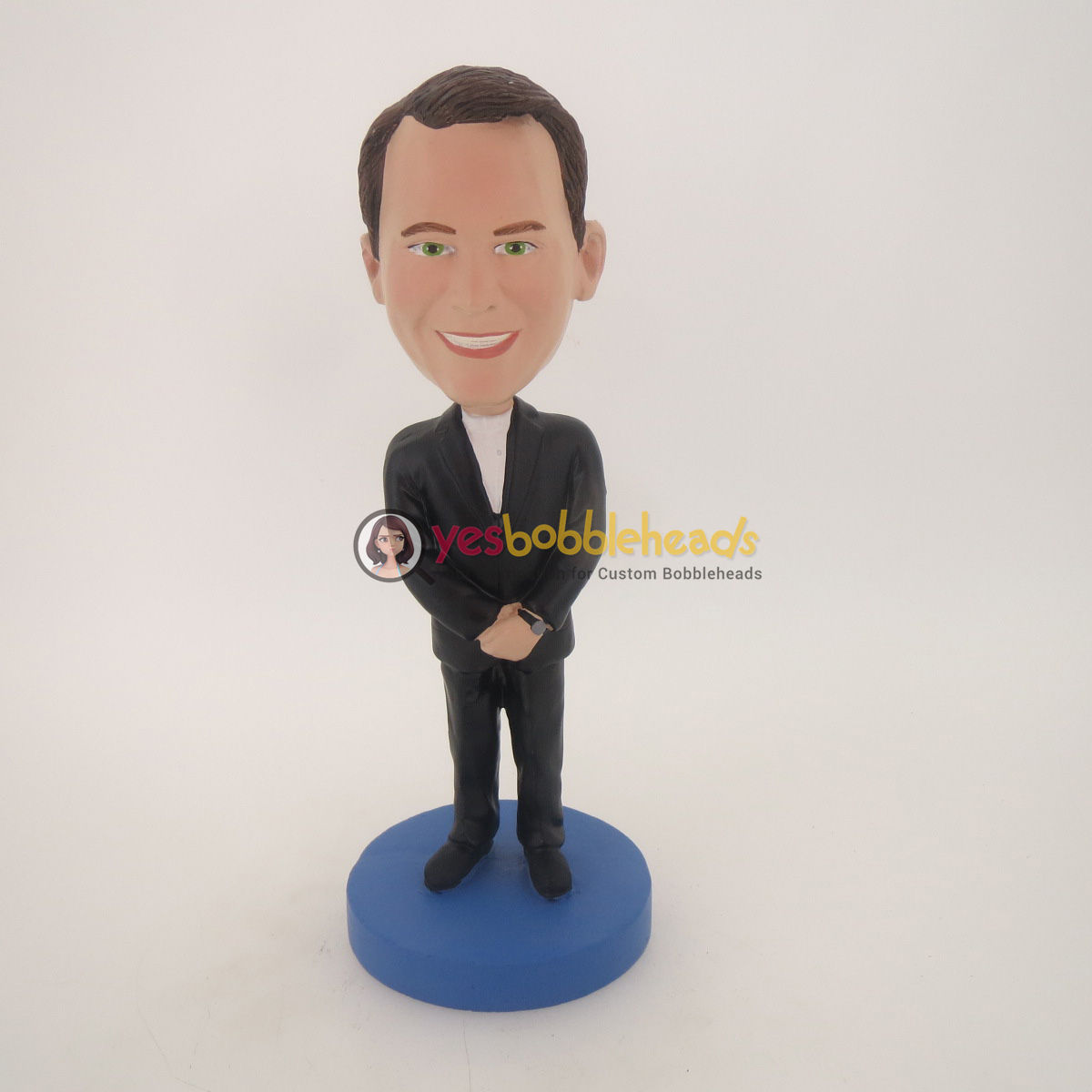 Picture of Custom Bobblehead Doll: Smiling Man In Black Suit