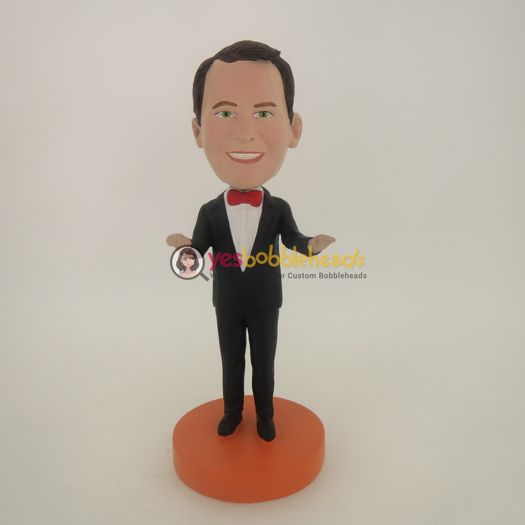 Picture of Custom Bobblehead Doll: Welcoming Man In Black Suit