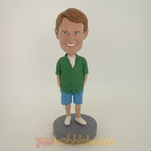 Picture of Custom Bobblehead Doll: Young Casual Man In Green