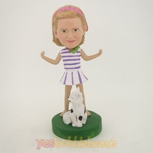 Picture of Custom Bobblehead Doll: Casual Girl With Pet