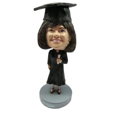 Picture of Custom Bobblehead Doll: Female Graduate Holding Degree