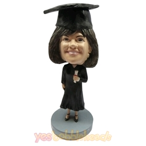 Picture of Custom Bobblehead Doll: Female Graduate Holding Degree