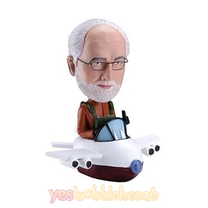 Picture of Custom Bobblehead Doll: Old Pilot Man Driving Aircraft