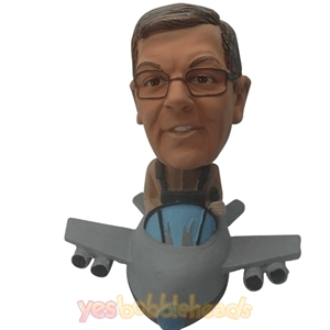 Picture of Custom Bobblehead Doll: Cool Pilot Driving Airplane
