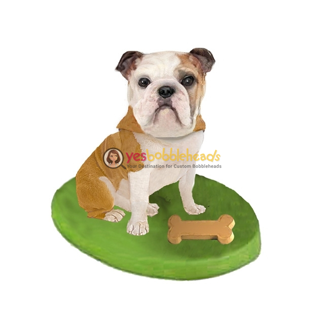 Picture of Custom Bobblehead Doll: Pet Dog Bulldog With Bone