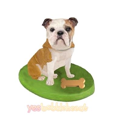 Picture of Custom Bobblehead Doll: Pet Dog Bulldog With Bone