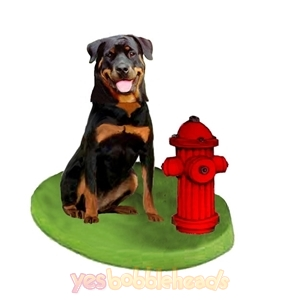 Picture of Custom Bobblehead Doll: Pet Dog Rottweiler displaying Fire Hydrant