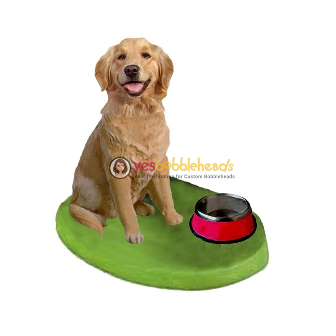 Picture of Custom Bobblehead Doll: Pet Dog Golden Retriever displaying Dogbowl