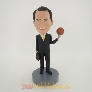 Picture of Custom Bobblehead Doll: Business Man Playing With Basketball